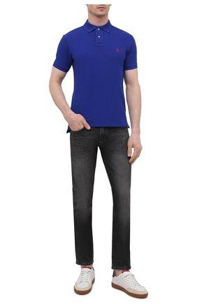 Мужское хлопковое поло POLO RALPH LAUREN синего цвета, арт. 710795080   Фото 2 (Рукава: Короткие; Материал внешний: Хлопок; Стили: Кэжуэл; Длина (для топов): Стандартные; Застежка: Пуговицы)