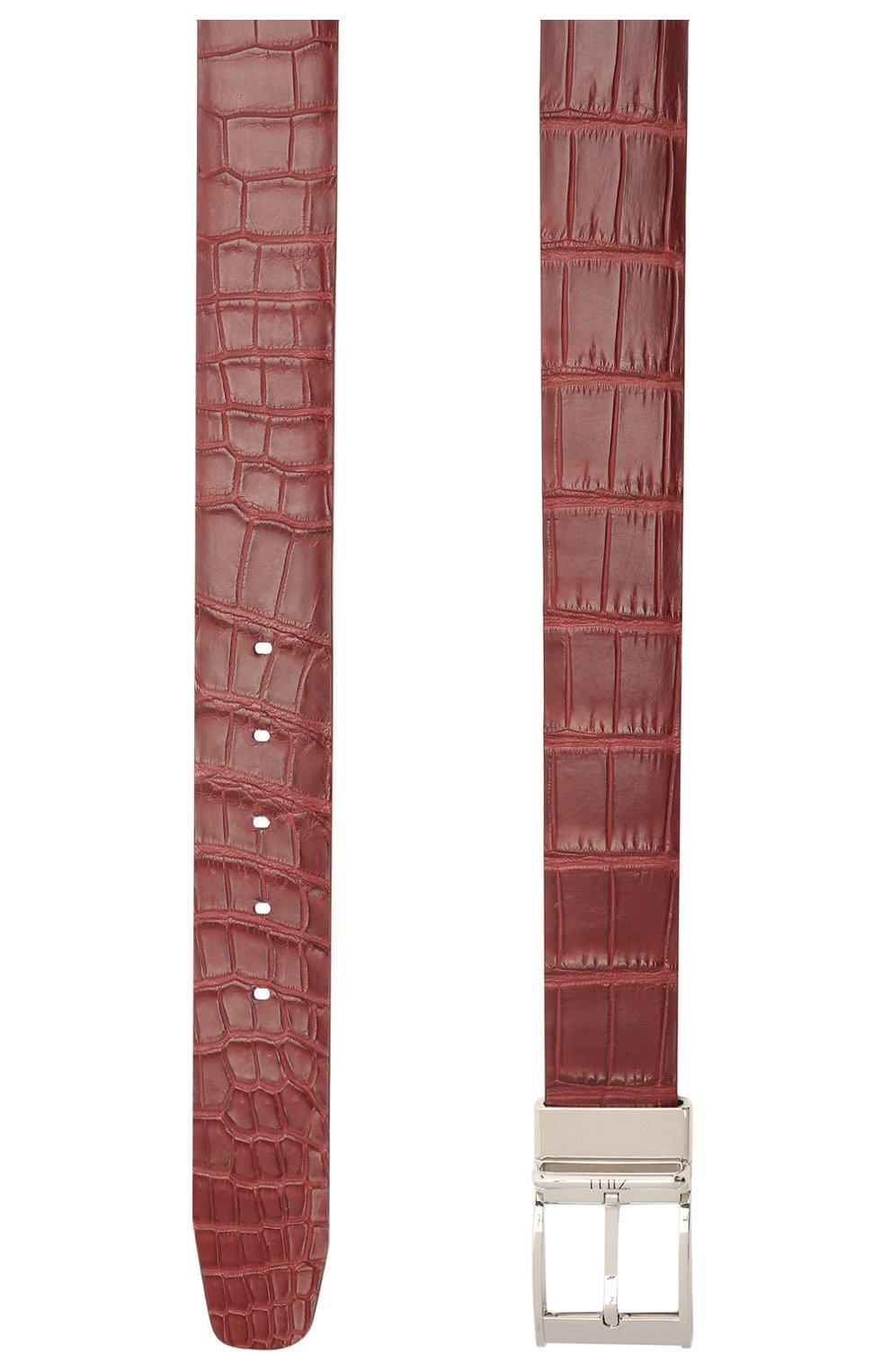 Мужской ремень из кожи аллигатора ZILLI бордового цвета, арт. MJL-REVRE-01010/0071/AMIS | Фото 2