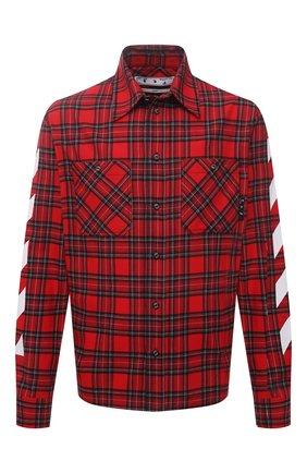 Мужская хлопковая рубашка OFF-WHITE красного цвета, арт. 0MGA133S21FAB001 | Фото 1
