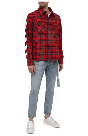 Мужская хлопковая рубашка OFF-WHITE красного цвета, арт. 0MGA133S21FAB001 | Фото 2