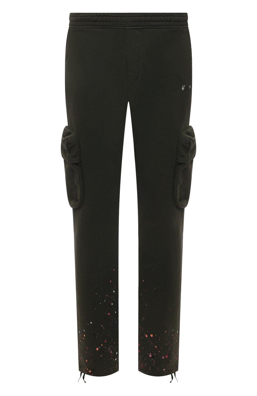 Мужские хлопковые брюки-карго OFF-WHITE хаки цвета, арт. 0MCH036S21FLE005 | Фото 1 (Силуэт М (брюки): Карго; Мужское Кросс-КТ: Брюки-трикотаж; Длина (брюки, джинсы): Стандартные; Случай: Повседневный; Стили: Милитари; Материал внешний: Хлопок)