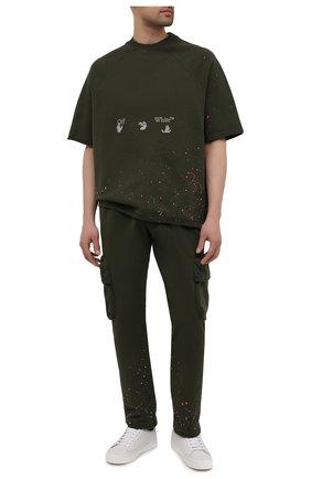 Мужские хлопковые брюки-карго OFF-WHITE хаки цвета, арт. 0MCH036S21FLE005 | Фото 2 (Силуэт М (брюки): Карго; Мужское Кросс-КТ: Брюки-трикотаж; Длина (брюки, джинсы): Стандартные; Случай: Повседневный; Стили: Милитари; Материал внешний: Хлопок)