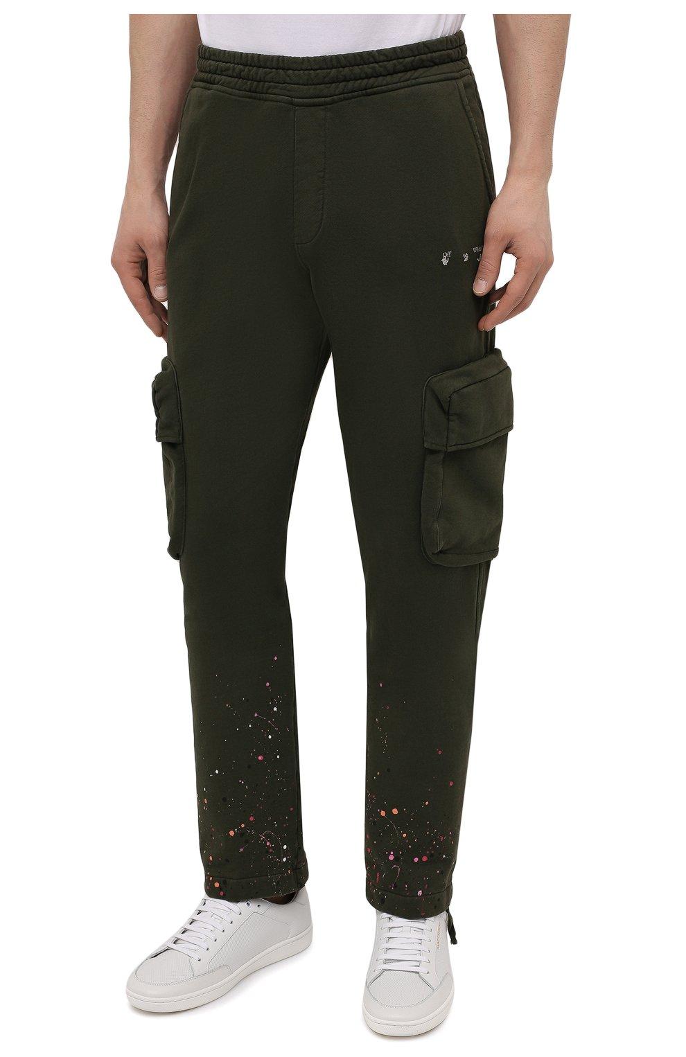 Мужские хлопковые брюки-карго OFF-WHITE хаки цвета, арт. 0MCH036S21FLE005 | Фото 3 (Силуэт М (брюки): Карго; Мужское Кросс-КТ: Брюки-трикотаж; Длина (брюки, джинсы): Стандартные; Случай: Повседневный; Стили: Милитари; Материал внешний: Хлопок)