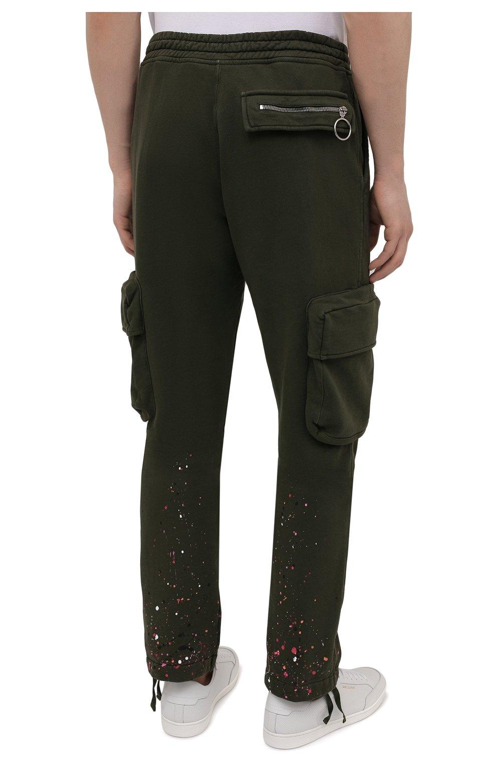 Мужские хлопковые брюки-карго OFF-WHITE хаки цвета, арт. 0MCH036S21FLE005 | Фото 4 (Силуэт М (брюки): Карго; Мужское Кросс-КТ: Брюки-трикотаж; Длина (брюки, джинсы): Стандартные; Случай: Повседневный; Стили: Милитари; Материал внешний: Хлопок)