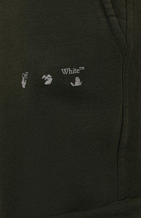 Мужские хлопковые брюки-карго OFF-WHITE хаки цвета, арт. 0MCH036S21FLE005 | Фото 5 (Силуэт М (брюки): Карго; Мужское Кросс-КТ: Брюки-трикотаж; Длина (брюки, джинсы): Стандартные; Случай: Повседневный; Стили: Милитари; Материал внешний: Хлопок)