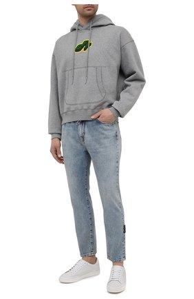 Мужской хлопковое худи OFF-WHITE серого цвета, арт. 0MBB073S21FLE003 | Фото 2 (Рукава: Длинные; Принт: С принтом; Материал внешний: Хлопок; Длина (для топов): Стандартные; Мужское Кросс-КТ: Худи-одежда; Стили: Спорт-шик)