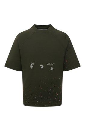 Мужской хлопковый свитшот OFF-WHITE хаки цвета, арт. 0MBA050S21FLE002 | Фото 1 (Принт: С принтом; Длина (для топов): Стандартные; Мужское Кросс-КТ: свитшот-одежда; Рукава: Короткие, 3/4; Материал внешний: Хлопок; Стили: Спорт-шик)