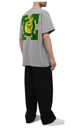 Мужская хлопковая футболка OFF-WHITE серого цвета, арт. 0MAA038S21JER011 | Фото 2