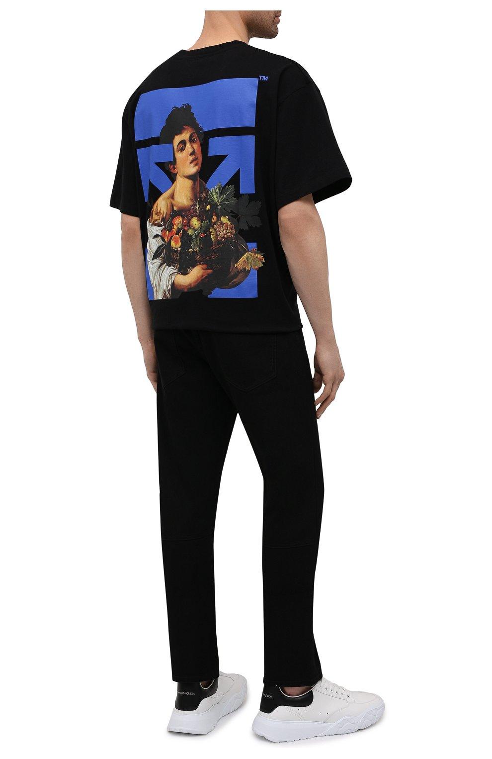 Мужская хлопковая футболка OFF-WHITE черного цвета, арт. 0MAA038S21JER007 | Фото 2 (Рукава: Короткие; Стили: Гранж; Принт: С принтом; Длина (для топов): Удлиненные; Материал внешний: Хлопок)