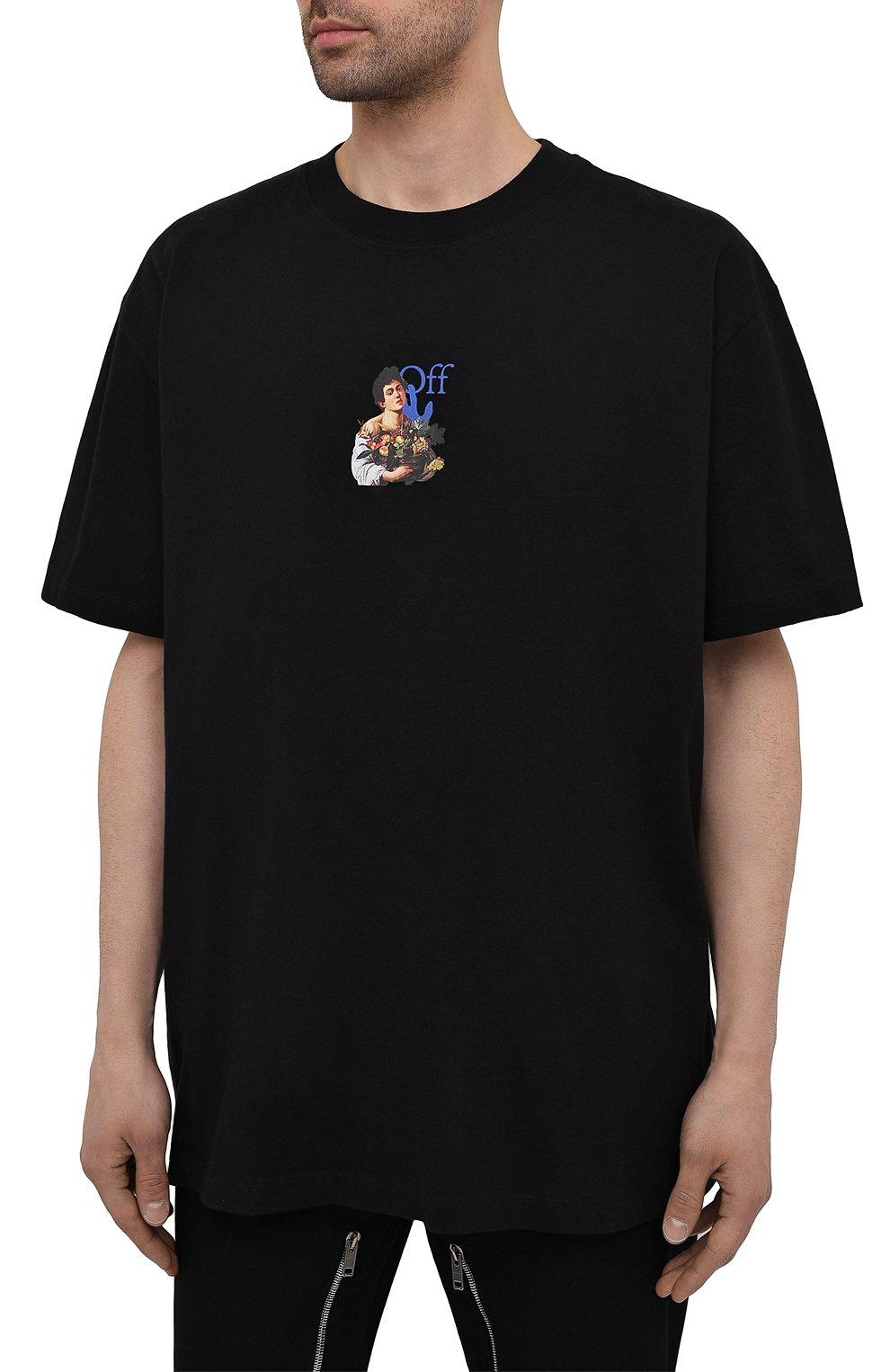 Мужская хлопковая футболка OFF-WHITE черного цвета, арт. 0MAA038S21JER007 | Фото 3 (Рукава: Короткие; Стили: Гранж; Принт: С принтом; Длина (для топов): Удлиненные; Материал внешний: Хлопок)