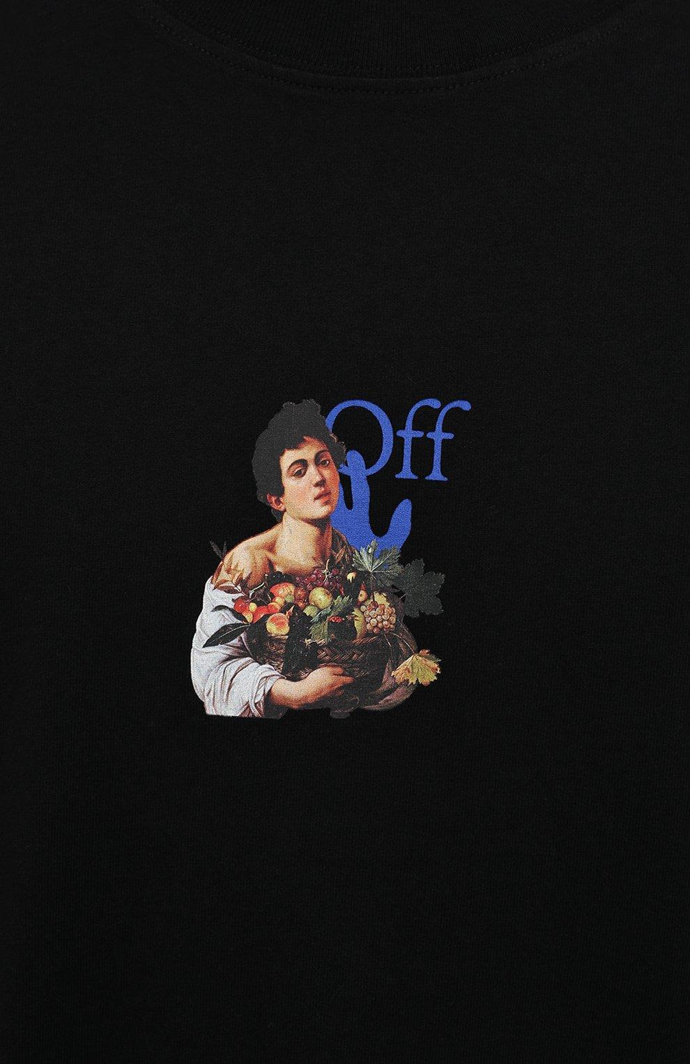 Мужская хлопковая футболка OFF-WHITE черного цвета, арт. 0MAA038S21JER007 | Фото 5 (Рукава: Короткие; Стили: Гранж; Принт: С принтом; Длина (для топов): Удлиненные; Материал внешний: Хлопок)
