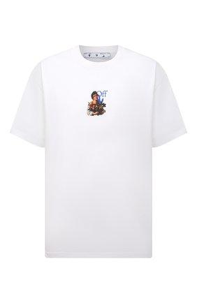 Мужская хлопковая футболка OFF-WHITE белого цвета, арт. 0MAA038S21JER007 | Фото 1