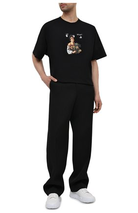 Мужская хлопковая футболка OFF-WHITE черного цвета, арт. 0MAA038S21JER006 | Фото 2
