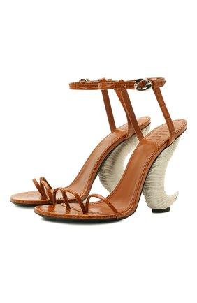 Женские кожаные босоножки show horn GIVENCHY светло-коричневого цвета, арт. BE305GE0ZW | Фото 1
