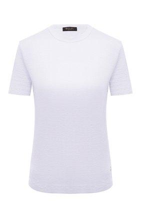 Женская льняная футболка LORO PIANA белого цвета, арт. FAL5832   Фото 1 (Длина (для топов): Стандартные; Рукава: Короткие; Стили: Кэжуэл; Женское Кросс-КТ: Футболка-одежда; Материал внешний: Лен; Принт: Без принта)