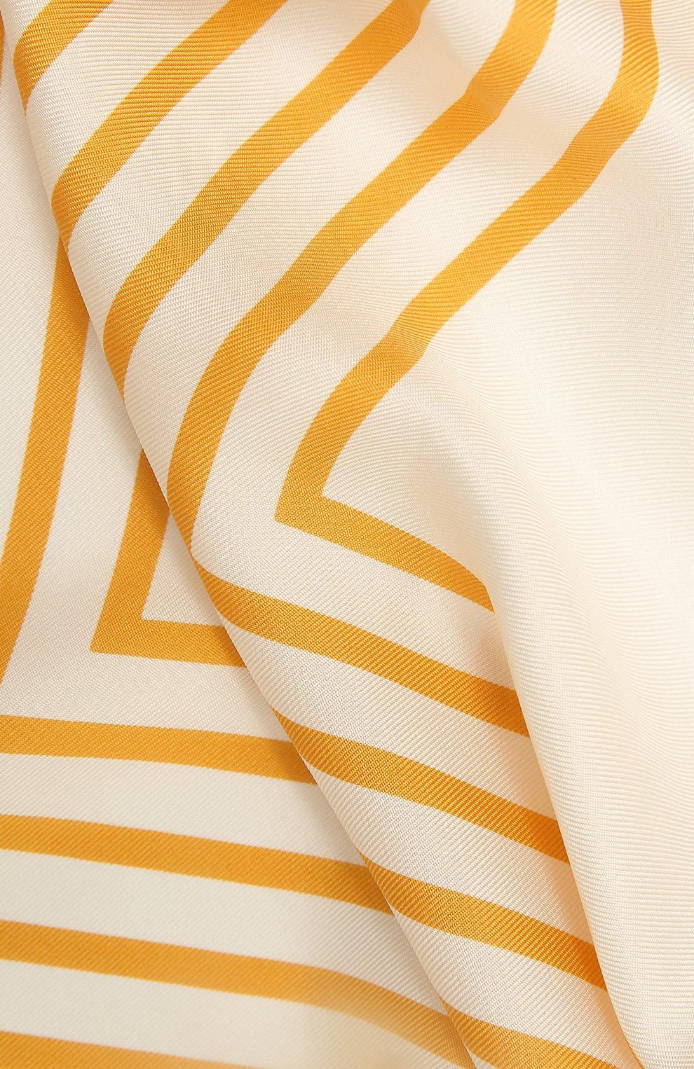 Женский шелковый платок LORO PIANA желтого цвета, арт. FAL5126   Фото 2