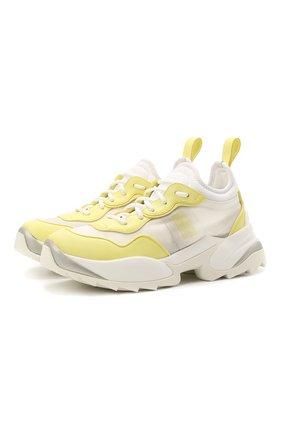 Женские комбинированные кроссовки SERGIO ROSSI желтого цвета, арт. A94020-MFI334 | Фото 1 (Подошва: Платформа; Материал внутренний: Натуральная кожа; Материал внешний: Текстиль)