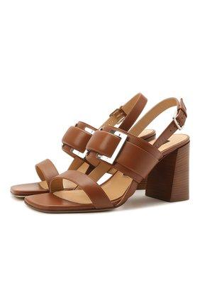Женские кожаные босоножки SERGIO ROSSI коричневого цвета, арт. A94220-MNAN07 | Фото 1