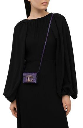 Женская сумка 001 mini TOM FORD фиолетового цвета, арт. S0345E-LCL150   Фото 2 (Материал: Натуральная кожа; Сумки-технические: Сумки через плечо; Размер: mini; Ремень/цепочка: На ремешке; Женское Кросс-КТ: Вечерняя сумка)