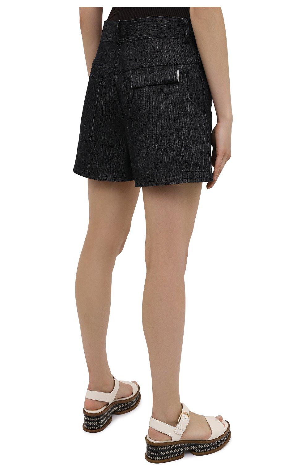 Женские джинсовые шорты JIL SANDER темно-синего цвета, арт. JPPS663122-WS246700 | Фото 4 (Женское Кросс-КТ: Шорты-одежда; Кросс-КТ: Деним; Длина Ж (юбки, платья, шорты): Мини; Материал внешний: Хлопок; Стили: Минимализм)