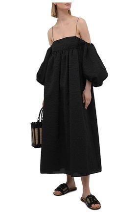 Женские кожаные шлепанцы LOEWE черного цвета, арт. L814465X04 | Фото 2 (Материал внутренний: Натуральная кожа; Каблук высота: Низкий; Подошва: Плоская)