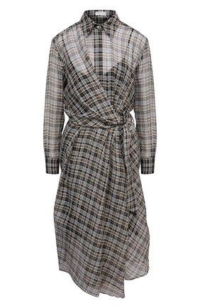Женское платье BRUNELLO CUCINELLI коричневого цвета, арт. MP754A4809 | Фото 1 (Материал внешний: Шерсть; Случай: Повседневный; Женское Кросс-КТ: платье-рубашка, Платье-одежда; Рукава: Длинные; Материал подклада: Синтетический материал; Длина Ж (юбки, платья, шорты): Миди; Стили: Романтичный)