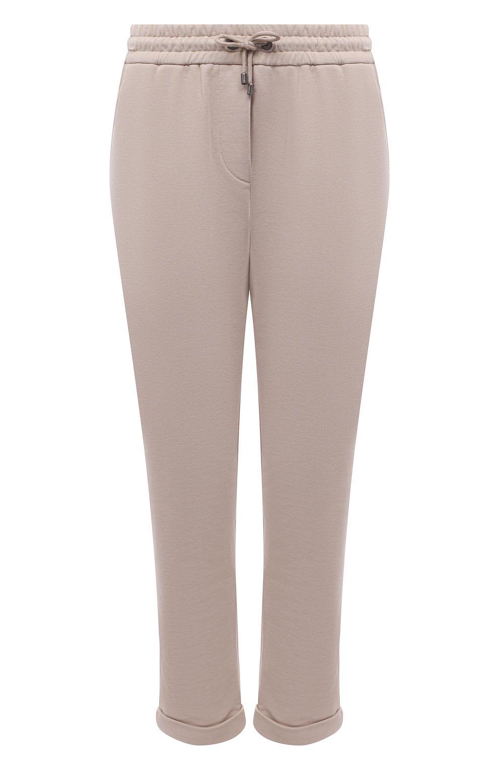 Женские хлопковые брюки BRUNELLO CUCINELLI бежевого цвета, арт. MP05NSF999   Фото 1