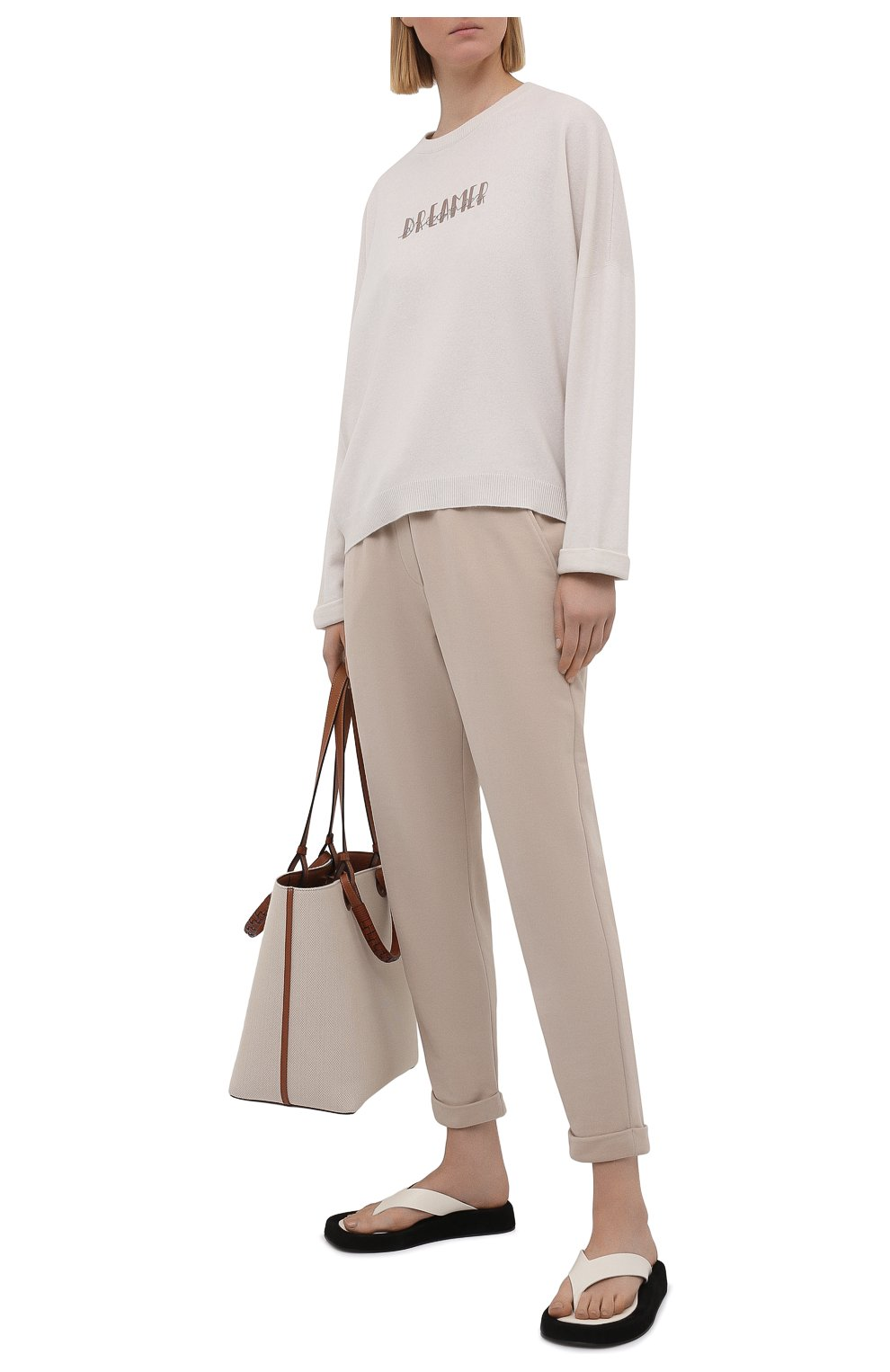 Женские хлопковые брюки BRUNELLO CUCINELLI бежевого цвета, арт. MP05NSF999   Фото 2