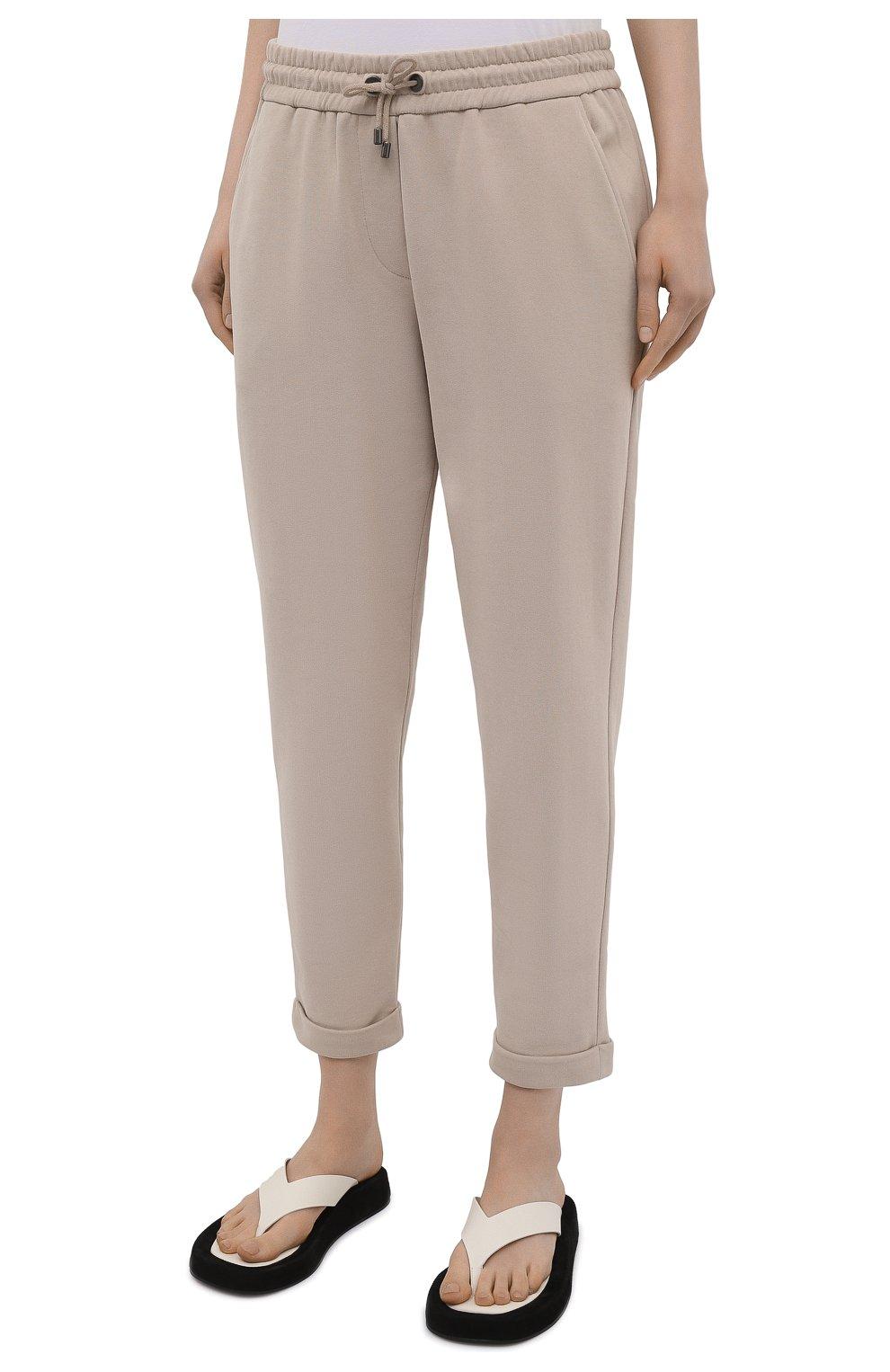 Женские хлопковые брюки BRUNELLO CUCINELLI бежевого цвета, арт. MP05NSF999   Фото 3