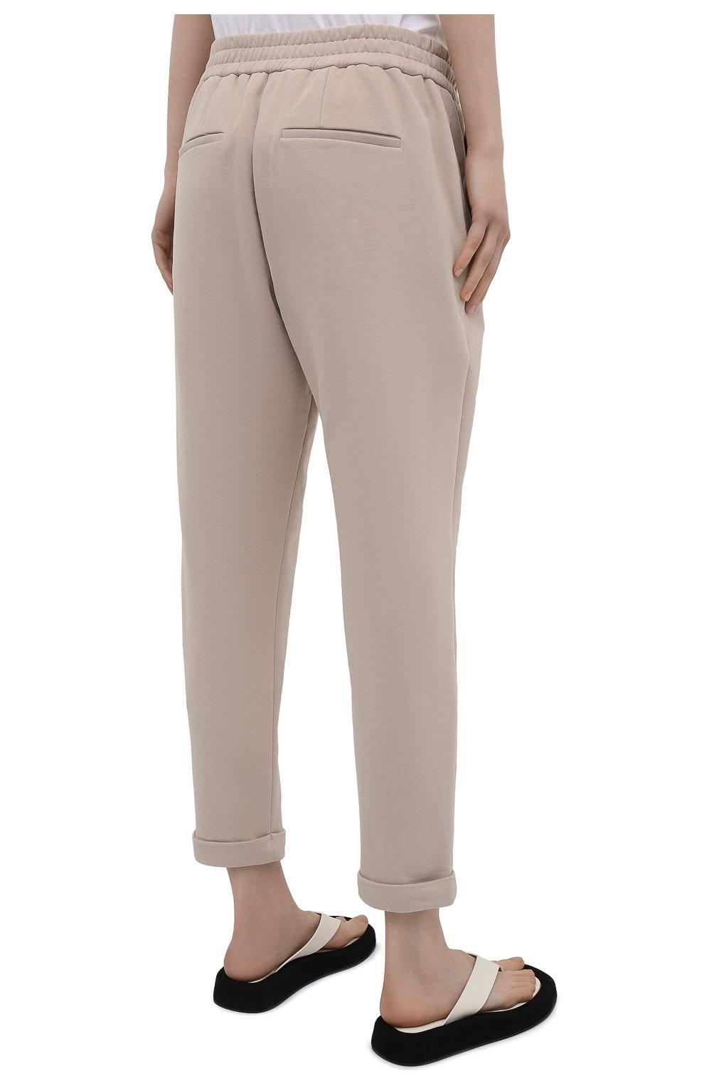 Женские хлопковые брюки BRUNELLO CUCINELLI бежевого цвета, арт. MP05NSF999   Фото 4