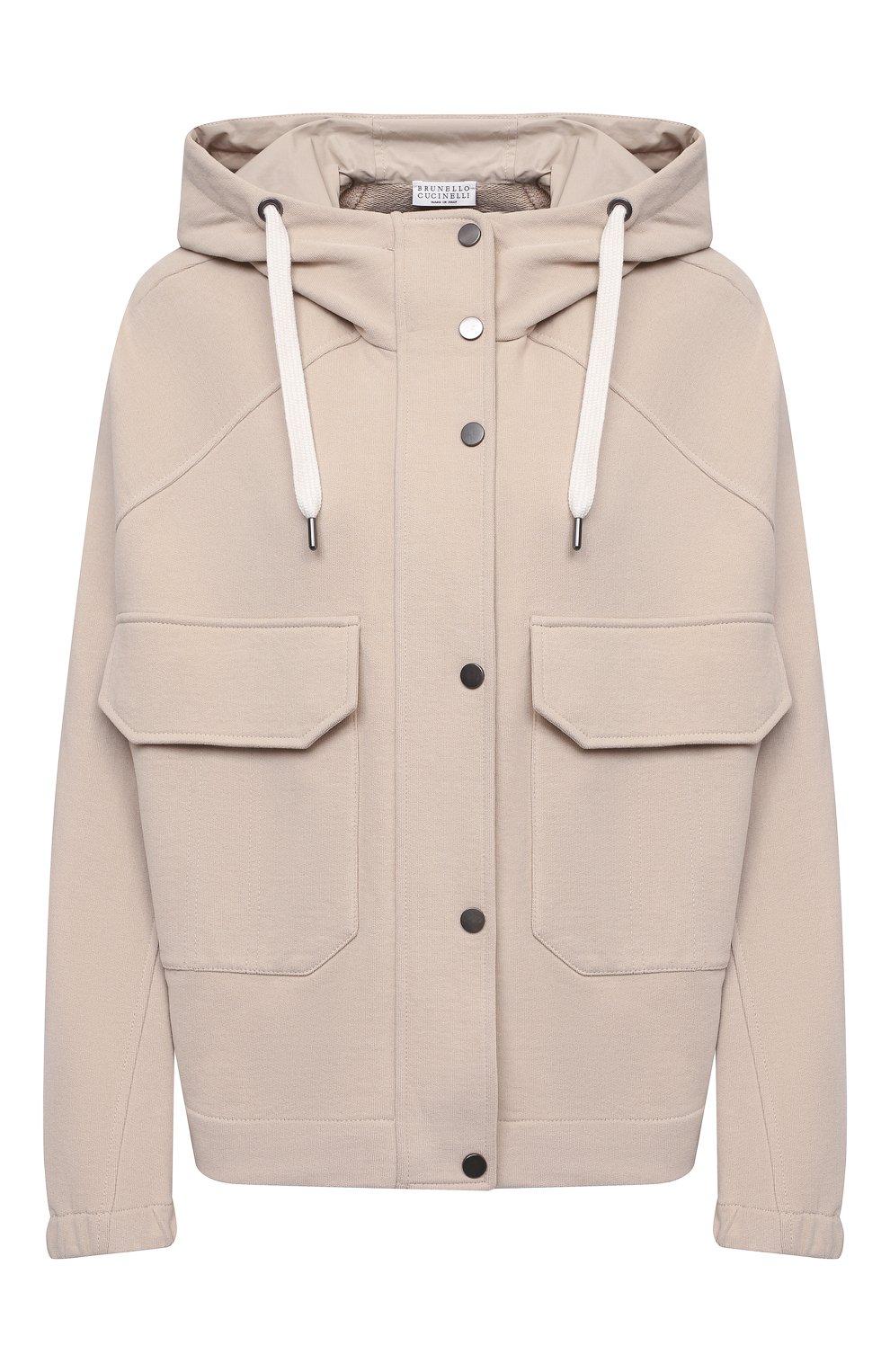Женский хлопковая куртка BRUNELLO CUCINELLI светло-бежевого цвета, арт. MP05NSF906 | Фото 1