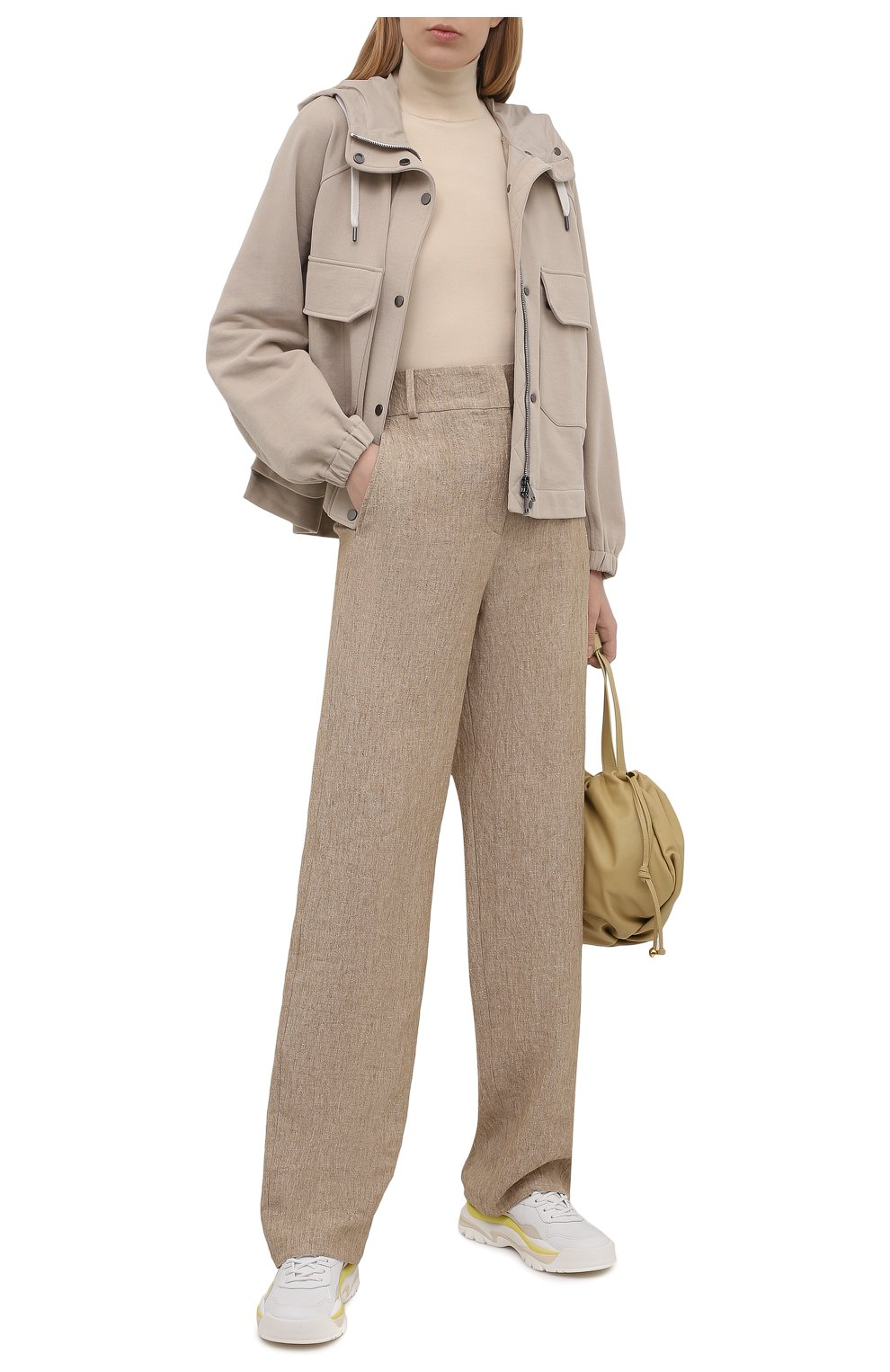 Женский хлопковая куртка BRUNELLO CUCINELLI светло-бежевого цвета, арт. MP05NSF906 | Фото 2