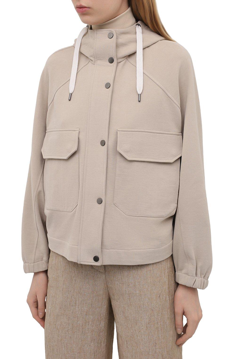 Женский хлопковая куртка BRUNELLO CUCINELLI светло-бежевого цвета, арт. MP05NSF906 | Фото 3