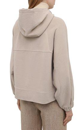 Женский хлопковая куртка BRUNELLO CUCINELLI светло-бежевого цвета, арт. MP05NSF906 | Фото 4
