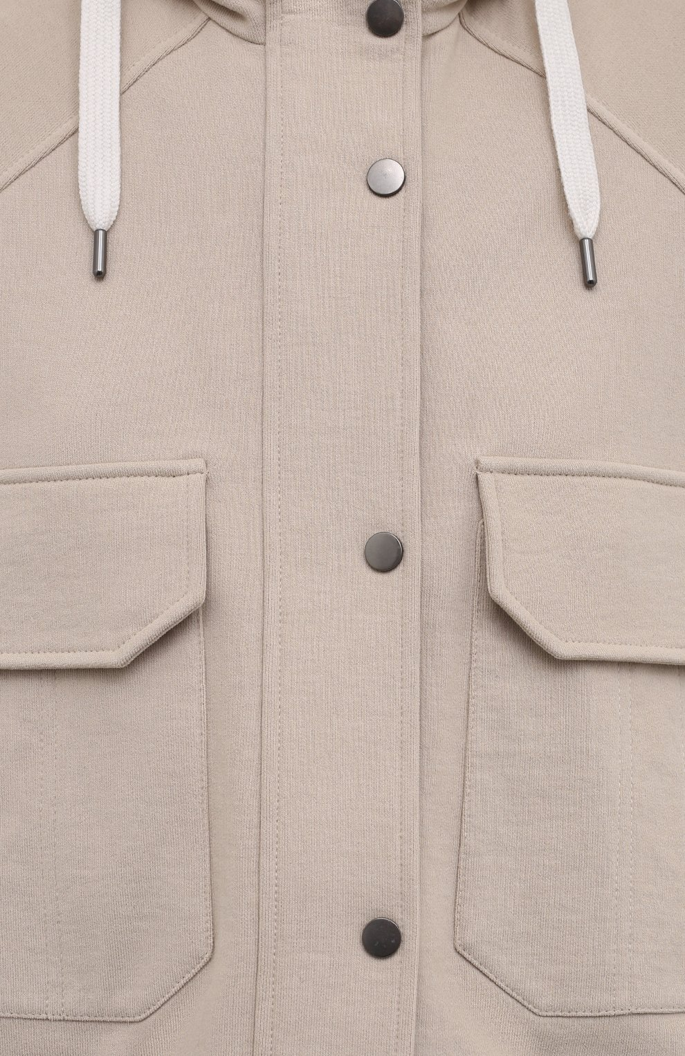 Женский хлопковая куртка BRUNELLO CUCINELLI светло-бежевого цвета, арт. MP05NSF906 | Фото 5