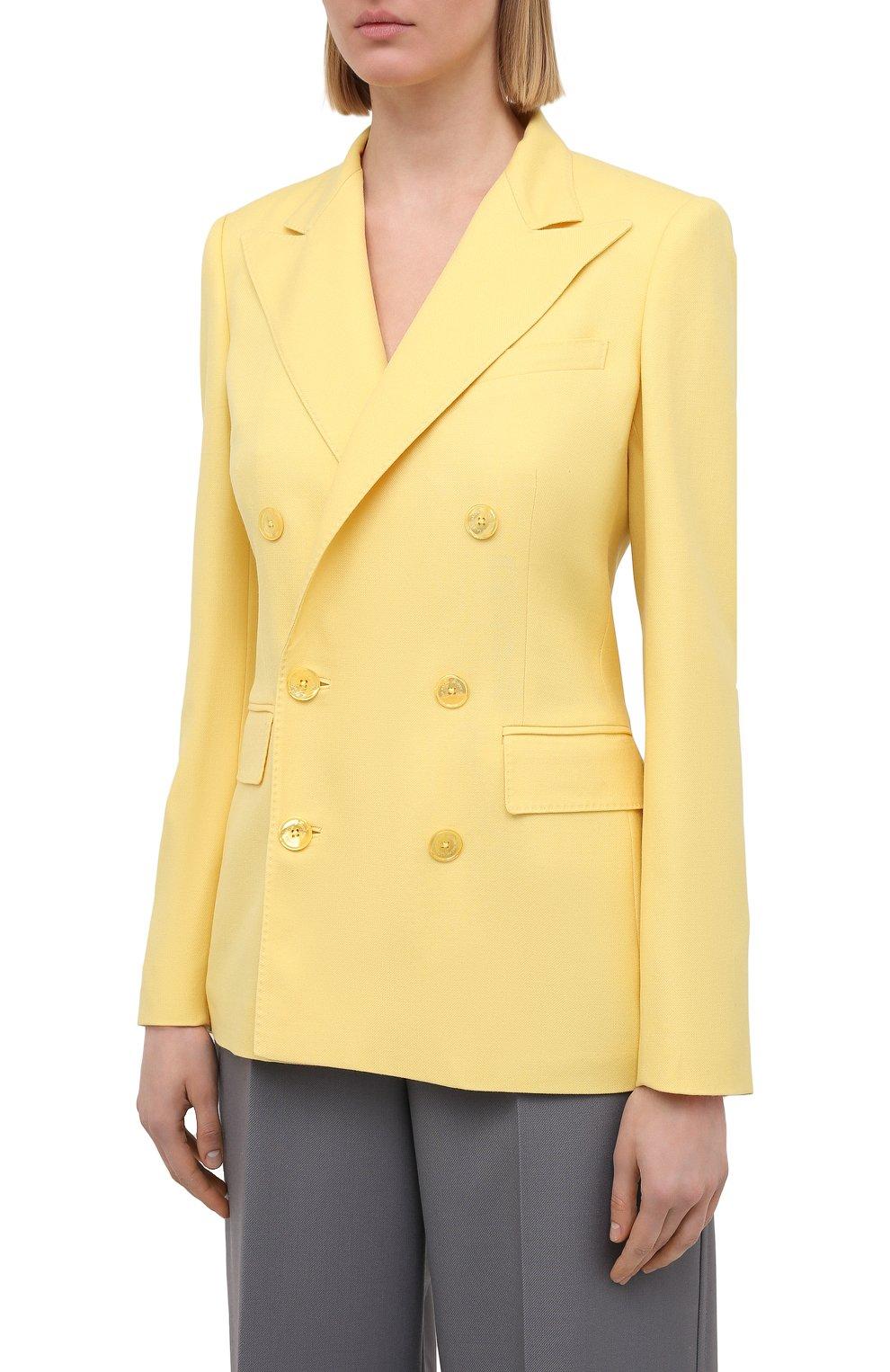 Женский кашемировый жакет RALPH LAUREN желтого цвета, арт. 290625543 | Фото 3