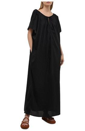 Женское хлопковое платье TOTÊME черного цвета, арт. 212-611-720 | Фото 2