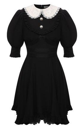 Женское шелковое платье ALESSANDRA RICH черного цвета, арт. FAB2398-F3057   Фото 1