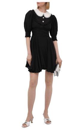 Женское шелковое платье ALESSANDRA RICH черного цвета, арт. FAB2398-F3057   Фото 2