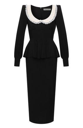 Женское шелковое платье ALESSANDRA RICH черного цвета, арт. FAB2400-F3057 | Фото 1