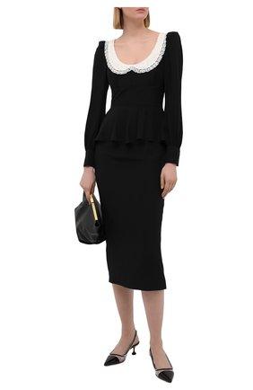 Женское шелковое платье ALESSANDRA RICH черного цвета, арт. FAB2400-F3057 | Фото 2