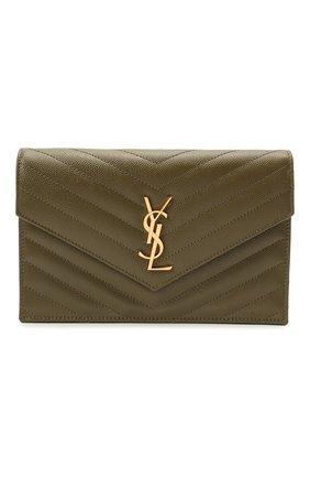 Женская сумка monogram envelope mini  SAINT LAURENT хаки цвета, арт. 393953/B0W01   Фото 1