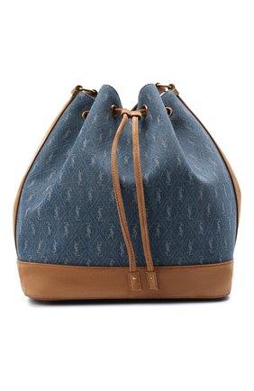 Женская сумка le monogramme SAINT LAURENT голубого цвета, арт. 568606/2NF2W   Фото 1 (Размер: medium; Сумки-технические: Сумки через плечо; Ремень/цепочка: На ремешке; Материал: Текстиль)