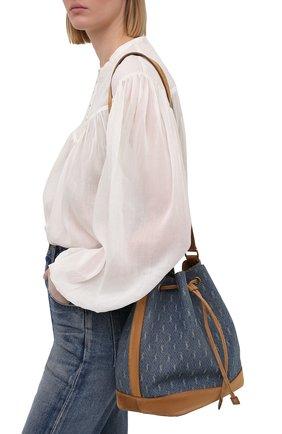 Женская сумка le monogramme SAINT LAURENT голубого цвета, арт. 568606/2NF2W   Фото 2 (Размер: medium; Сумки-технические: Сумки через плечо; Ремень/цепочка: На ремешке; Материал: Текстиль)