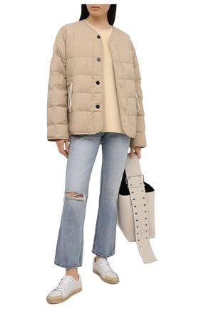 Женская пуховая куртка JIL SANDER бежевого цвета, арт. JPPS440394-WS460800   Фото 2