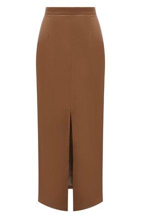 Женская юбка из экокожи ERIKA CAVALLINI коричневого цвета, арт. S1/P/P1SE07 | Фото 1