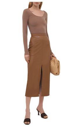Женская юбка из экокожи ERIKA CAVALLINI коричневого цвета, арт. S1/P/P1SE07 | Фото 2