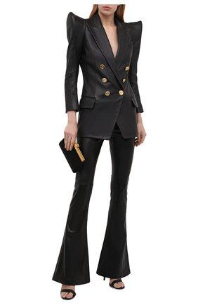 Женский кожаный жакет BALMAIN черного цвета, арт. VF0SI050/L151 | Фото 2
