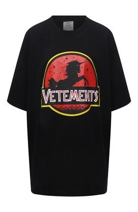 Женская хлопковая футболка VETEMENTS черного цвета, арт. UA52TR320B 1602/W | Фото 1