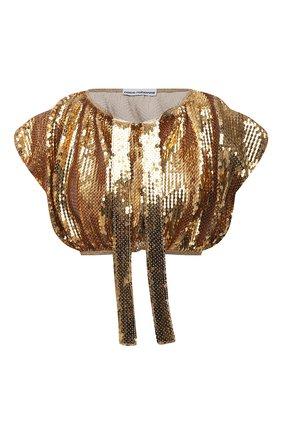 Женский топ с пайетками PACO RABANNE золотого цвета, арт. 21EJT0307CU0008 | Фото 1
